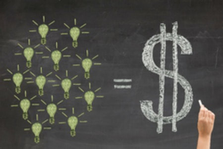 Demand Generation Light Bulbs Dollar Sign Blackboard