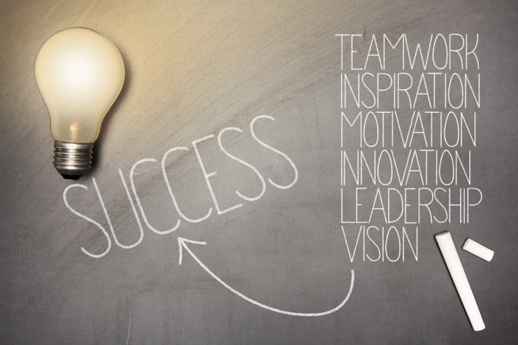 Strategy Consulting Success Requires Teamwork Inspiration Motivation Innovation Leadership Light Bulb on Blackboard - Chi Rho Consulting - Strategic Consultancy for Entrepreneurs and Startups
