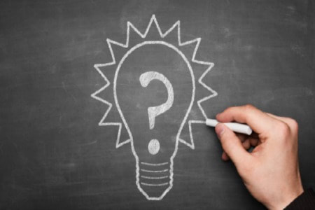 Strategic Planning Lightbulb Question Mark Blackboard